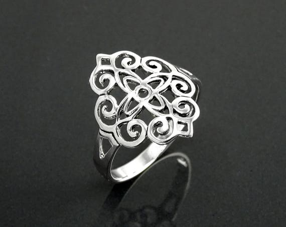 Mandala Sacred Ring, Sterling Silver, Seed of Life Ring, Flower of Life Ring, Dainty Filigree Ring, Spiritual Jewelry, Geometry Round Ring