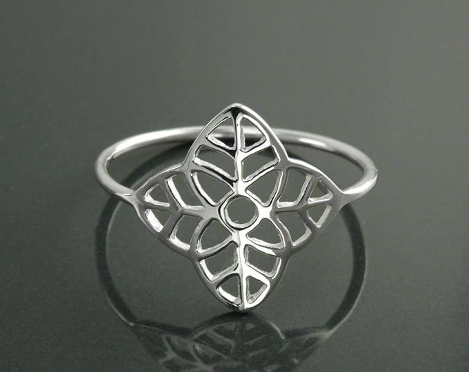 Four Leaf Ring, Sterling Silver, Tree Leaf Ring, Lace Ring, Irish Nature Life Jewelry, Filigree Seed of life, nature Ring