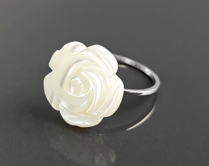 Rose Blossom Ring, Sterling Silver, Romantic Rose Flower, Delicate Engraved Mother-of-Pearl Rosebud, Promise jewelry, Dainty Everyday Ring