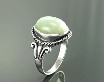 NATURAL Jade Ring, Sterling Silver, GENUINE JADE Gemstone Jewelry, Hipster Tribal Rope Design, Unisex Ring, Vintage Oval Stone Ring,