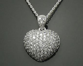 Heart Necklace, Sterling Silver, Heart set with Clear White tones (CZ), Stone Love Charm Pendant, Woman gift