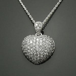 CZ Love Jewelry Graphic Design Heart Charm Sterling Silver Lab Diamonds simulant Heart Necklace valentine/'s day gift