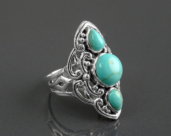 Turquoise Antique Ring, Sterling Silver, Triple Turquoise Stone Jewelry, Ethnic Jewelry, Boho Chic Jewelry, Unique Statement Rings for her