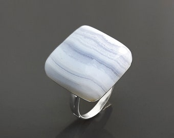 Blue Square Ring, Sterling Silver, NATURAL Chalcedony Striped Stone, Modern Minimalist Geometric Style, Designer Jewelry
