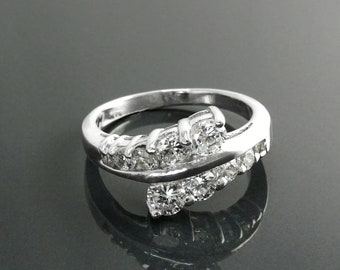 Bypass Ring, Sterling Silver, White Clear Stone Ring (CZ), Small Shinning Stone, Cocktail Ring, Two Rows Lines Stones,