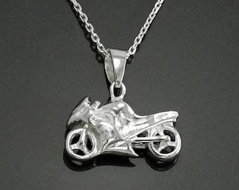 Motorcycle Pendant, Silver Modern Motorbike Necklace Charm, Sports Biker Super-bike Fanatics Motorcyclist Jewelry Racing Moto Biker Gifts