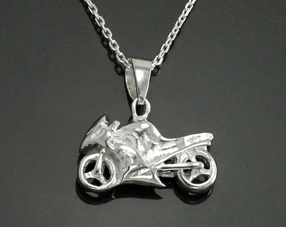Motorcycle Pendant, Silver 925, Modern Motorbike Necklace Charm, Sports Bike, Super-bike Fanatics, Motorcyclist Jewelry, Racing Moto Gifts