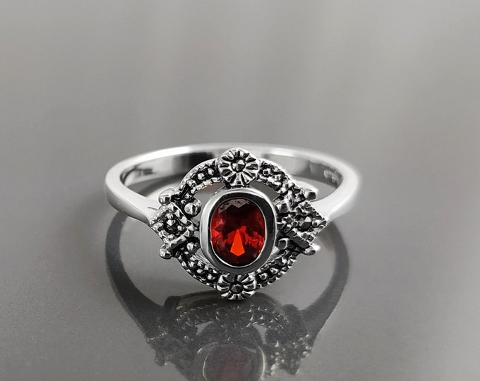 Red Stone Ring, Sterling Silver ring with Oval Red Cz and Marcasites Stones, Medieval Round Vintage Art-Deco Design Jewelry