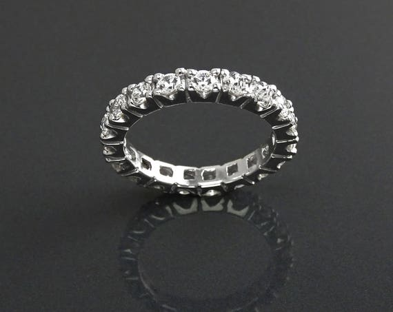 2CT Full Eternity Band, 3mm Wedding Band, Engagement Ring, Man Made Lab Diamond Simulants, Stacking Bridal Ring, Solid Silver,