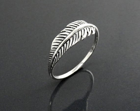 Sterling Feather Ring, Sterling Silver 925, Native Inspired Jewelry, Dainty Stacking Bird Ring, Wanderlust Band Ring, Liberty Nature Jewelry