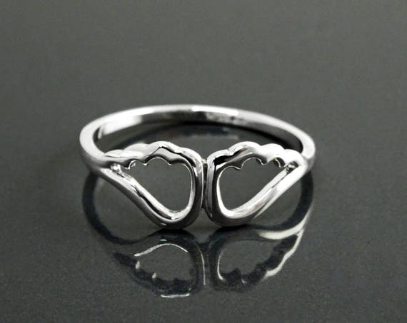 Dainty Wings Ring, Sterling Silver, Angel Wing Ring, Angels Jewelry, Heaven Angel Double Wing Ring, Guardian Angel Wings, Cupid Wings Ring