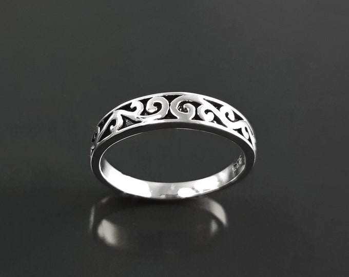 Baroque ring, sterling silver, hipster engraved pattern jewelry, original engagement ring, gift for women and men