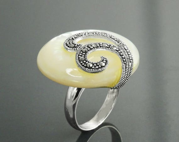 Art Deco Marcasite Ring, Sterling Silver, Vintage Marcasites Ring, Round Disc GENUINE Mother of Pearl, Reissued Retro Inspired Jewelry