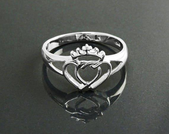 Coeur de Vendée Ring, Sterling Silver, Coeur Vendéen, Double Heart Holy Spirit Crown Ring French Traditional, Regional Souvenir of France