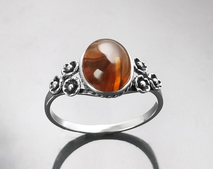 Amber Ring, Sterling Silver, Genuine Amber Oval Stone, Dainty Small Gemstone Jewelry, Comfortable Vintage Style