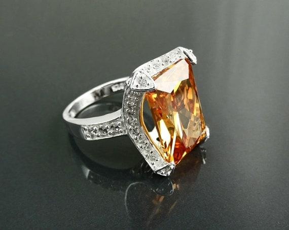 Rectangular ring,rectangle ring,prong ring,cocktail ring, large statement ring, orange ring,evening ring,event ring,bling ring,silver Ring