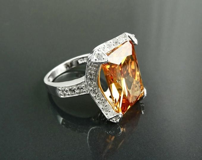 Orange ring, Sterling silver, large statement stone ring, bold bling ring,