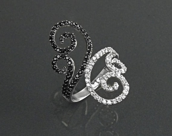 Double Spirals Ring, Sterling Silver, Bypass Winding Ring, Black & White Lab Diamonds simulant (CZ) Jewelry, Cocktail Ring, Statement Ring