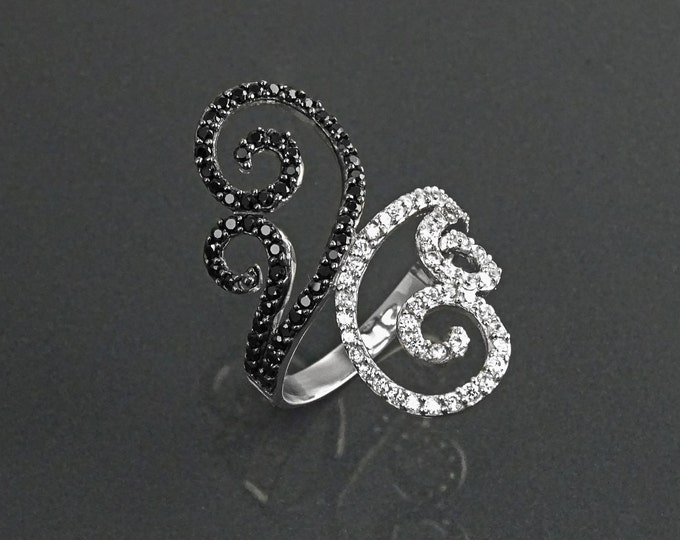 Spirals Ring, Sterling Silver, Bypass Winding Ring, Black & White Stones (CZ) Jewelry, Cocktail Ring, Statement Ring