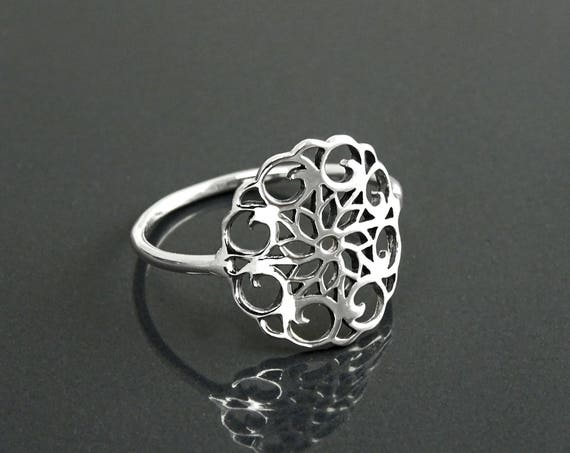 Seed of Life Ring, Sterling Silver, Flower of Life Ring, Sacred Geometry Ring, Dainty Filigree Ring, Spiritual Jewelry, Round Mandala Ring