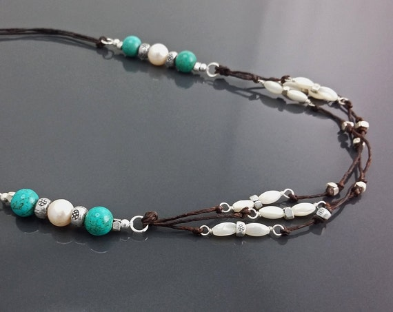 Turquoise Boho Necklace - Brown Leather Necklace - Turquoise  Necklace - Native inspired Necklace- Boho Necklace - Hipster Jewelry