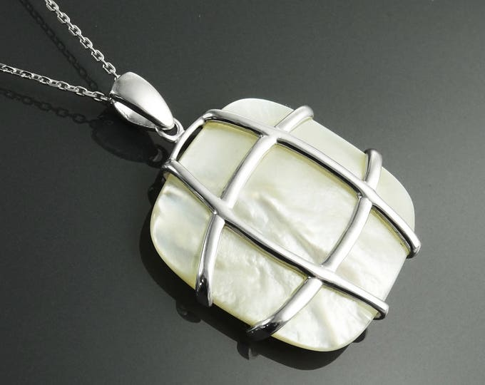 White Square Necklace, Sterling Silver, GENUINE White Mother of Pearl Shell,  Modern Geometric Stone Pendant Necklace, Original Lace Jewelry