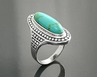 Natural Turquoise Ring, Sterling Silver, Turquoise Stone Boho Style Ring, Long Antique Gypsy Rings, Bohemian Jewelry, Statement Studded Ring