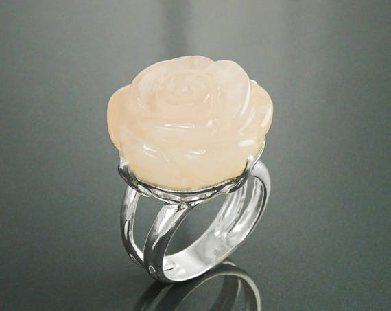 Rose Flower Ring  - Sterling Silver Ring - Hand Engraved stone - Rose Quartz - Rose Flower - shabby chic ring - Unique Vintage Ring