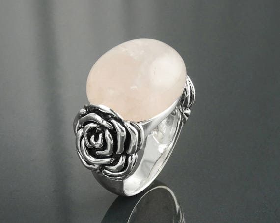 Rose Silver Ring, Sterling Silver, Rose Quartz Gemstone, Blossom Ring, Romantic Flower Ring, Rosebud Ring, Antique Floral Ring, Hipster Ring