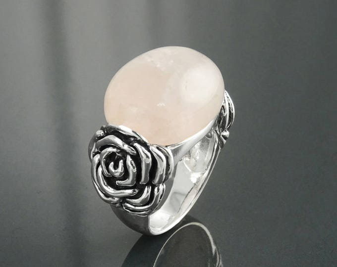 Rose Quartz Ring, Sterling Silver, Pink Oval Stone, Romantic Rose Flower Blossom Jewelry, Rosebud Ring, Antique Vintage Floral Ring