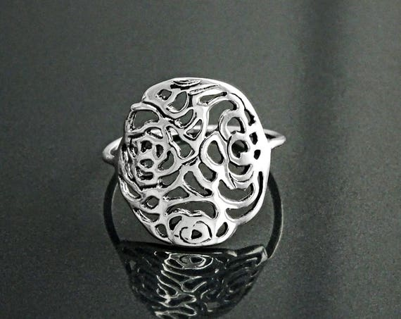 Rose Filigree Ring, Sterling Silver, Rose Blossom Ring, Romantic Flower Ring, Rosebud Ring, Antique Rose Jewelry, Dainty Flat Flower Ring