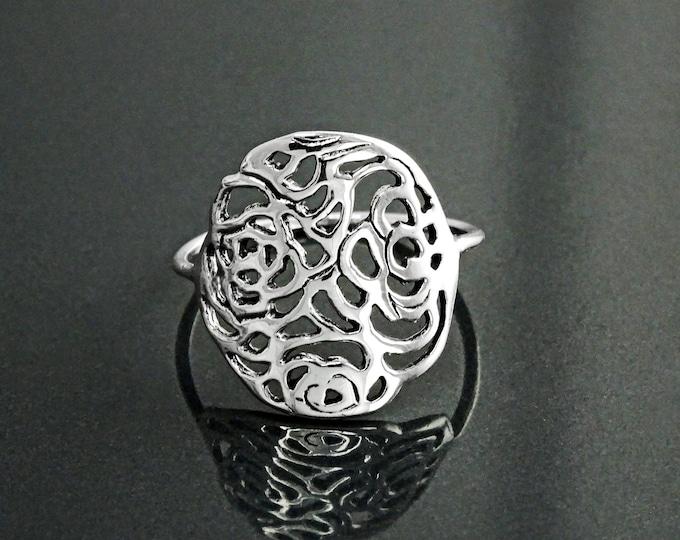 Rose Filigree Ring, Sterling Silver, Rose Blossom Ring, Romantic Flower Ring, Rosebud Ring, Antique Rose Jewelry, Dainty Flat Flower Ring