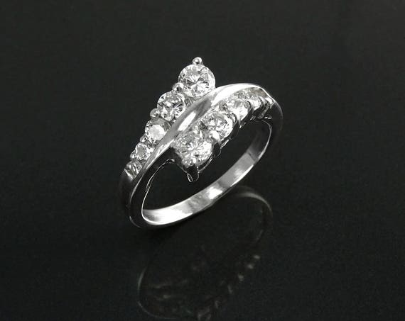 Bypass Ring, Sterling Silver, Eternity Band, Engagement Cross, Two Rows Lines Diamond simulant (CZ), Modern Ring, Promise Ring, You and Me