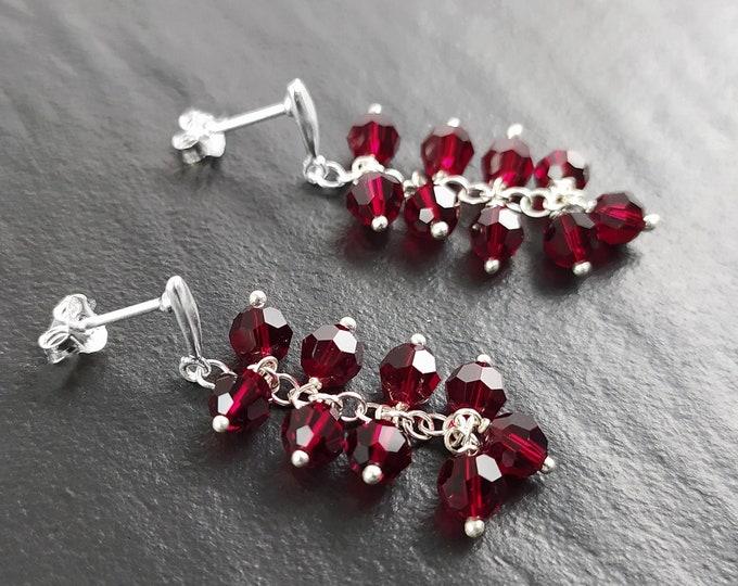 Red Crystal Earrings, Sterling Silver, Teardrop Red Grape Stones Earrings, Berries Garnett Color, Modern Drop, Berry Pomegranate Jewelry