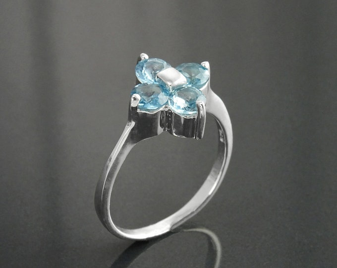 Blue Stone Ring, Sterling Silver, Blue Aquamarine Color Cz, Quatrefoil Flower Square Ring, Modern Four Stones Ring, Square Clover Ring