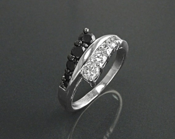 Bi-color Bypass Ring, Sterling Silver, Lab Diamond simulant (CZ) Ring, Stones Jewelry, Cross Ring, Black &White Color, Valentine's Day Gifts