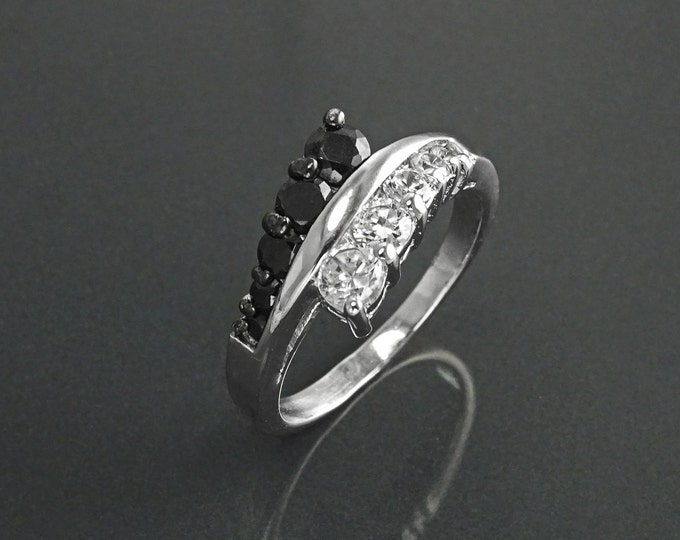 Bi-color Bypass Ring, Sterling Silver, (CZ) Stones Ring, Stones Jewelry, Cross Ring, Black and White Color, Valentine's Day Gifts, Xmas gift