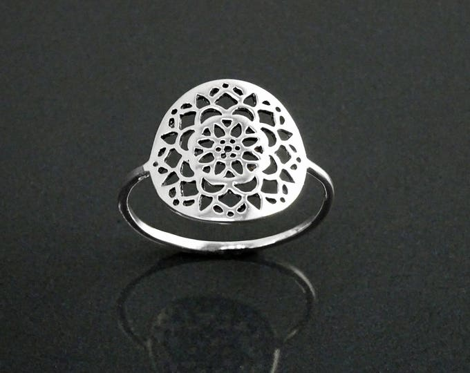 Flower of Life Ring, Sterling Silver, Seed of Life Ring, Sacred Geometry Ring, Dainty Thin Filigree Round Ring, Mandala Spiritual Jewelry