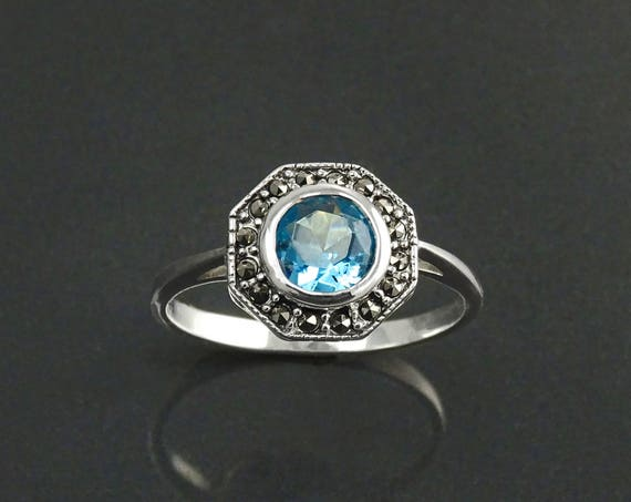Topaz Marcasite Ring, Sterling Silver, Vintage Octagonal Ring, Lab Blue Topaz Simulant, Retro Azure Stone Rings, Dainty Rings, Women Gifts