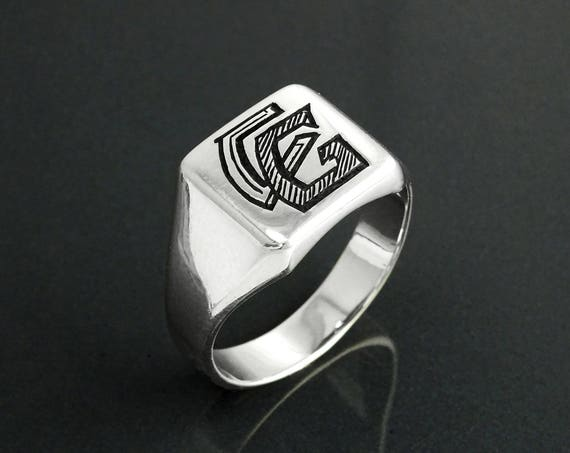 Personalized Men Ring Sterling Silver Engraved Initials Mens Name jewelry Initial Signet Ring for Him Father Gift
