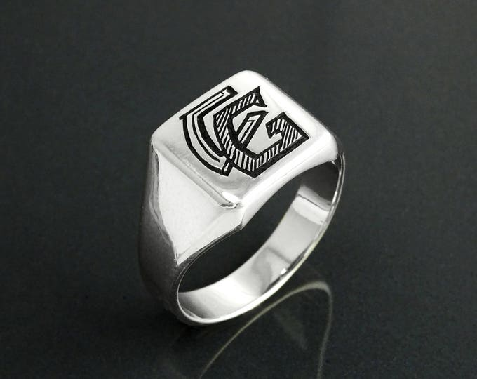 Initials Signet Ring, Sterling Silver, Personalized Fonts Chart, Initial Letter, Hand Engraved Name Letters, Men Women Jewelry gift