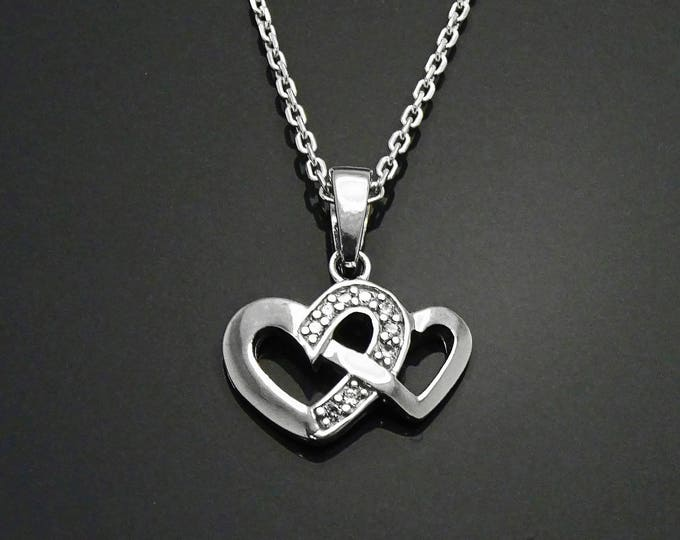 Double Hearts Necklace, Sterling Silver, Lab Diamonds Simulant, Dainty Crossing Heart Charm, Valentine's Day gift