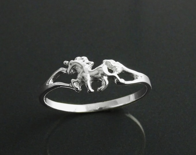 Unicorn Ring, Sterling Silver, Enchanted Fairytale Jewelry, Magical World Ring, Birthday Gifts, Midi Ring, Pinky Ring, Dainty Stacking Ring
