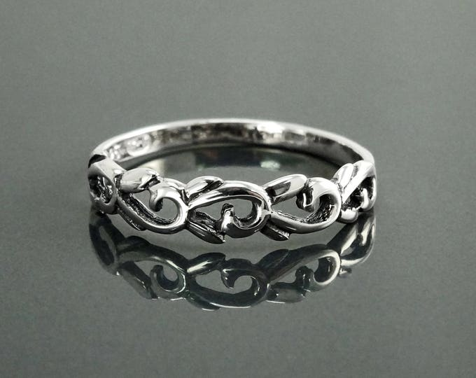 Antique Boho Ring, Sterling Silver, Bohemian Stacking Band, Woman Jewelry, Hipster Promise Band, Gypsy Hollowed Ring, Gothic Engraved Band
