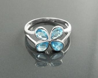 Modern Aquamarine Blue Color Ring, Sterling Silver, Lab Aquamarine simulant (CZ), Modern Flower Petal Ring, Minimalist Stone Jewelry, Clover