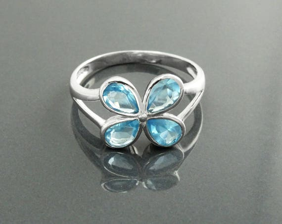 Modern Aquamarine Blue Color Ring, Sterling Silver, Lab Aquamarine simulant (CZ), Modern Flower Petal Ring, Minimalist Stone Jewelry, Clover