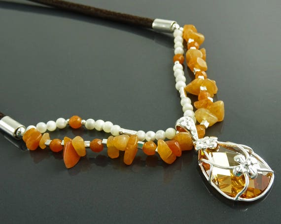NATURAL Agate Choker Necklace, Sterling Silver, Orange Agate Gemstones, Pearls Strands, Lab Orange Sapphire, Flower Pendant, Stingray Collar