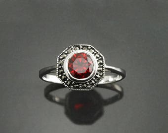 Ruby Marcasite Ring, Sterling Silver, Vintage Octagonal Ring, Lab Ruby Simulant (Cz Zirconium), Dainty Retro Red Stone Rings, Women Gifts