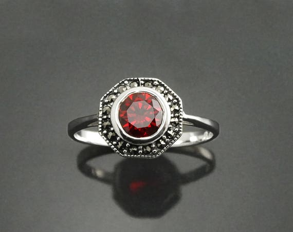 Ruby Marcasite Ring, Sterling Silver, Vintage Octagonal Ring, Lab Red Ruby Simulant, Dainty Retro Red Stone Rings, Women Gifts