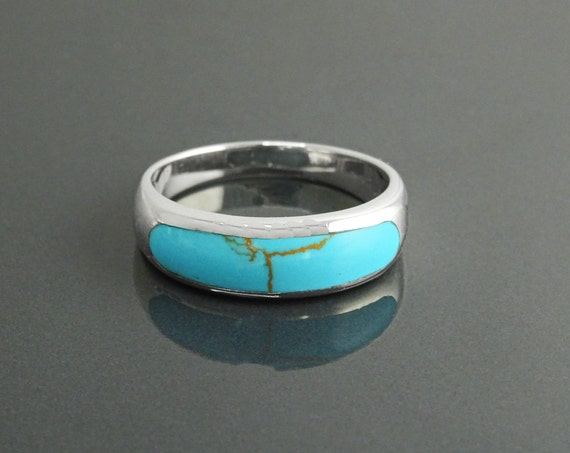 Turquoise Band Ring, Sterling Silver,  Modern Blue Turquoise Jewelry, Sleek Inlay Turquoise Band, Stackable Minimalist Turquoise Stone Ring